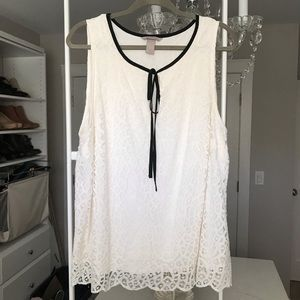 H&M lined cream lace tank with black tie